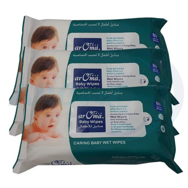 Aroma Baby Wipes 80 Sheets bundle of 3