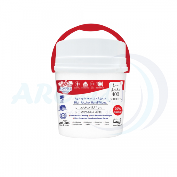 ARABIAN High Alcohol Hand Wipes 400 Sheets in bucket