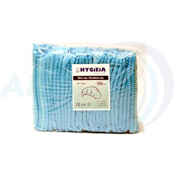HYGIEIA Bouffant Cap/Nurse Cap - Blue 100's/bag