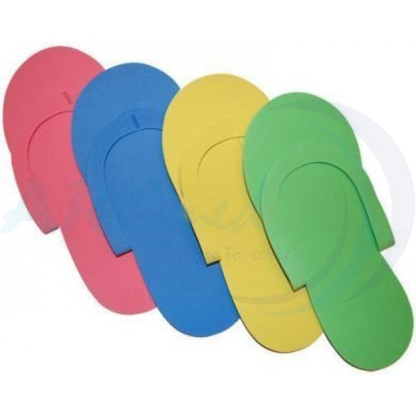 Fold-Up Pedicure Slippers - Assorted Colors 12 pairs/ Pack