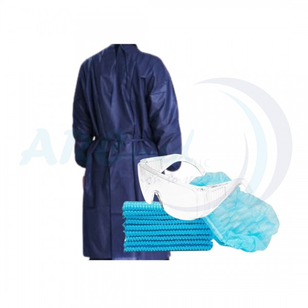 3 in 1 Hygieia Non-Sterile Disposable Isolation Gown 35gsm by 10's and Bouffant Cap 100's in blue with Clear Safety Goggles Eye Protection Anti Fog Glasses