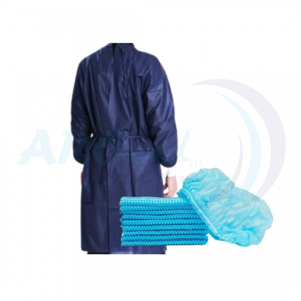 Hygieia Bundle Protect Bundle Non-Sterile Disposable Isolation Gown 35gsm by 10's and Hygieia Bouffant Cup 100's in blue with 3ply Disposable Non- Medical Face Mask by 50's