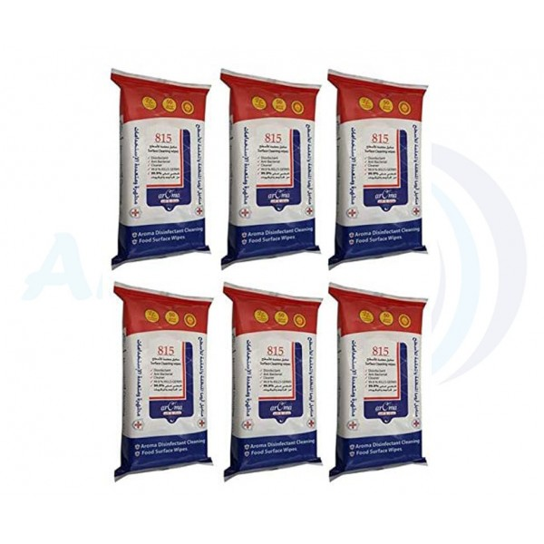 6 Packs - Aroma Surface Disinfectant Cleaning Wipes 50 Sheets