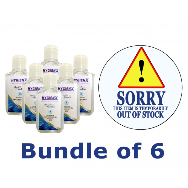 HygienX Anti-Microbial Hand Sanitizer 60ml - Bundle of 6pcs.
