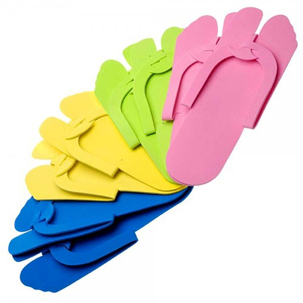 Fold-Up Pedicure Slippers - Assorted Colors 12 pai...