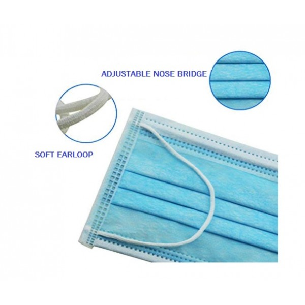 HYGIEIA Disposable Face Mask 3 Ply Earloop - Blue 50's/box